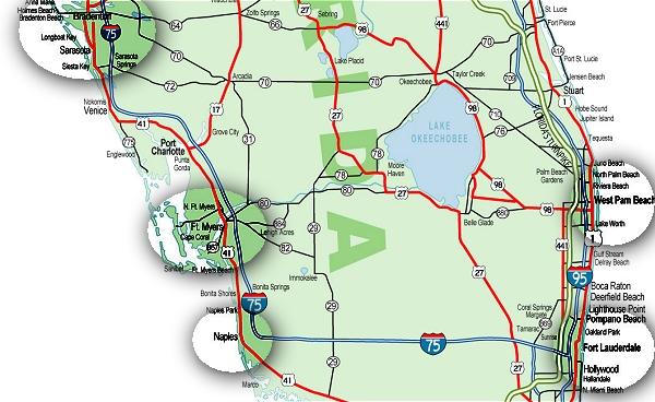 Florida Karten Von Der Ostk 252 Ste Und Westk 252 Ste
